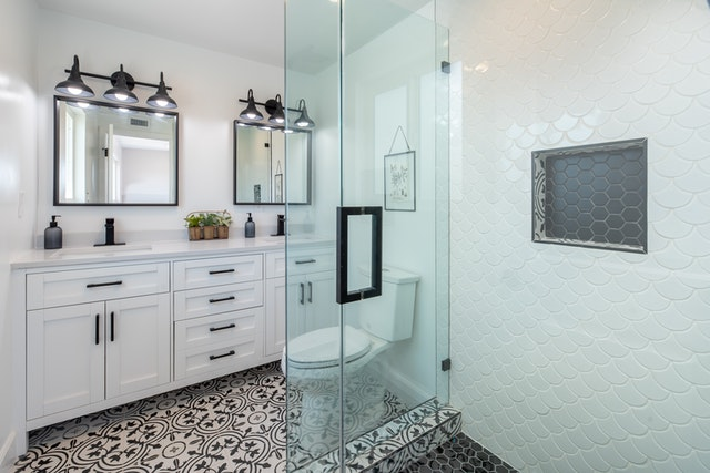 beautiful bathroom with walk in shower
